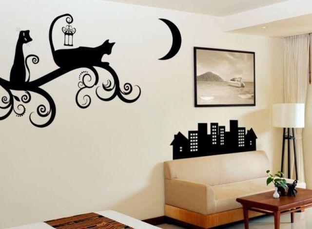 Рисунок на стену в комнате своими руками деревья