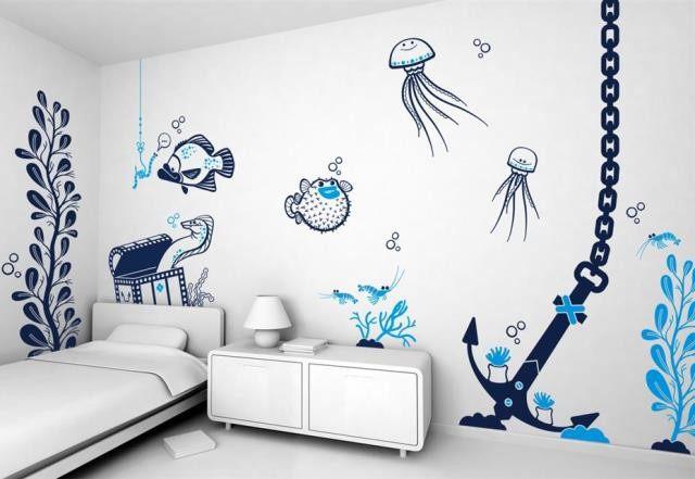 Легкие рисунки на стенах в квартире своими руками