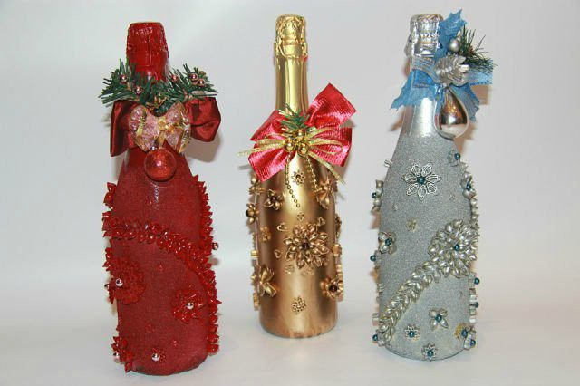 Оформление бутылки к новому году своими руками