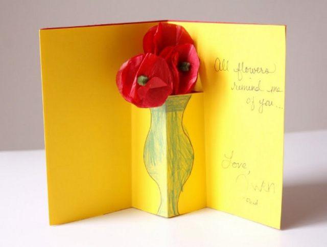Сделать объемную открытку для мамы 44