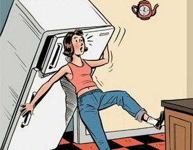 Как перевесить дверь холодильника?