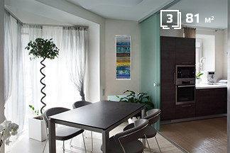 Стеклянные перегородки и  обволакивающие оттенки: квартира-трансформер по  проспекту Дзержинского