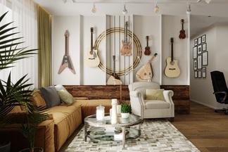 Для увлеченных музыкой и искусством. Как дизайн-студия создавала интерьер в стиле блюз для творческой пары