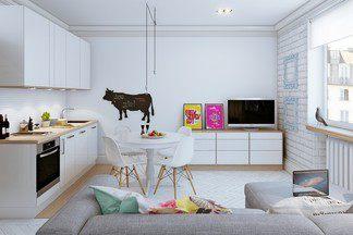 Обустройство малометражки в  скандинавском стиле своими  силами: объединенное пространство кухни с гостиной и много белого