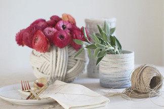 На выходных: Делаем «морские» вазы из веревки