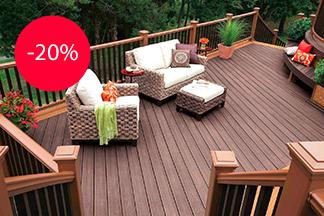 Скидка 20% на все материалы из древесно-полимерного композита бренда Outdoor от компании «Евросклад Сервис»